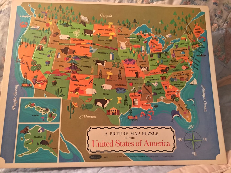 Vintage Picture Map Puzzle of The United States of America, 1968 Western  Publishing