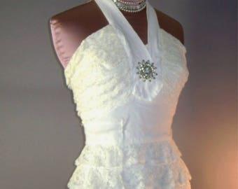 Incredibile abito vintage 1950s clessidra bomba sexy halter sole c5fe9b2a2bf