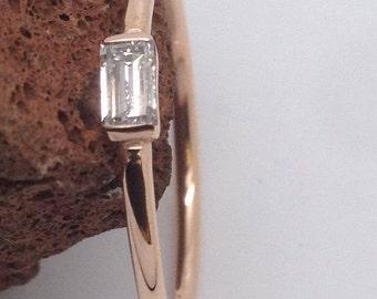 Stackable horizontal bagguette ring,rose gold baguette ring,ring,handmade rose gold 14 k baguette ring rose gold jewelry,Handmade Jewelry