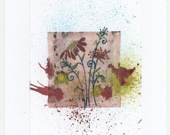 Mixed Media Tea Bag Art Flowers on Watercolour Paper Graphik Line Painters Original Art Direct From The Artist Unique One of a Kind OOAK