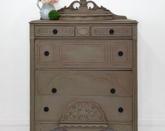 f4b9b78f70f7 Vintage dresser chest hand painted coco with dark wax. Perfect for your  modern farmhouse befroom!