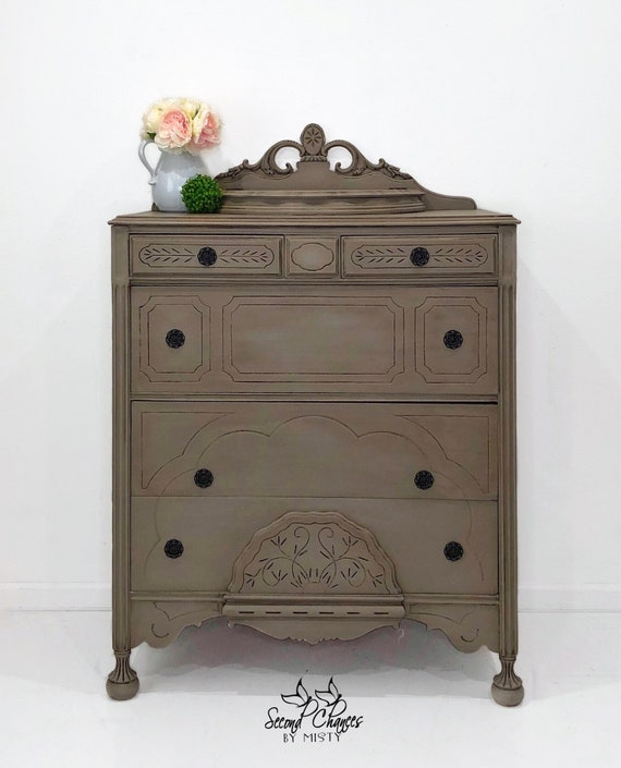 Vintage dresser chest hand painted coco with dark wax. Modern farmhouse  style bedroom