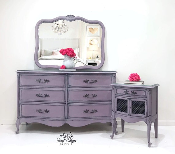Dresser And Nightstand Painted Purple And Black Are The Etsy - Glass tops for bedroom furniture