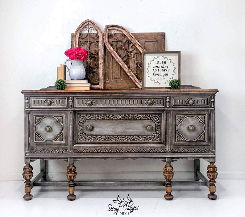 Jacobean Buffet / Sideboard / Dining Room Furniture / Media Center /  Entryway / Foyer / Coffee Station / Painted Weathered Wood