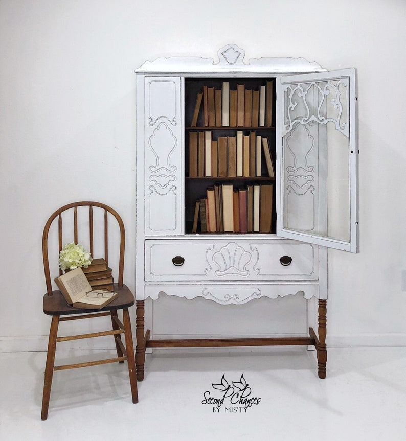 Vintage China Cabinet Hand Painted White With Wood Stained Legs. Linen  Closet. Perfect Modern Farmhouse Decor.