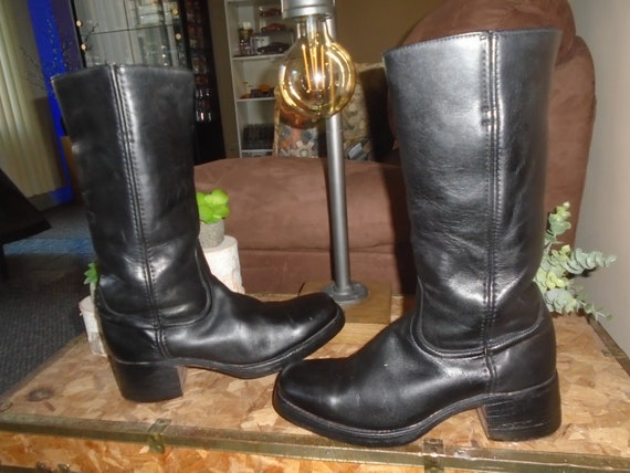 Vintage FRYE BLACK Lable Campus Boots Harness Moto