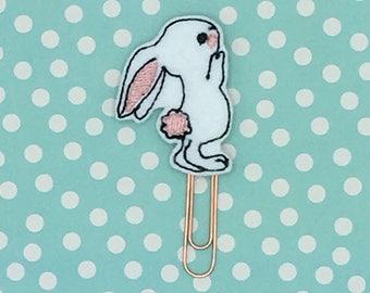 Planner Clip, White Bunny Clip, Spring Planner Clip, Notebook Accessory, Bookmark Feltie, Erin Condren, Happy Planner