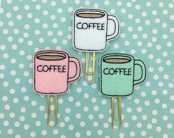 Planner Clip, Coffee Mug, Coffee, Coffee Mug Clip, Planner Accessory, Bookmark Feltie, Erin Condren, Happy Planner