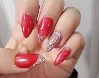 Short Red Nails Etsy