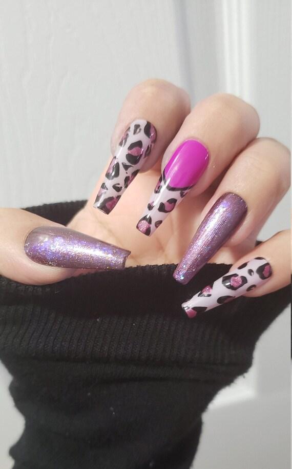 Uñas De Bailarina Pintadas A Mano Uñas De Leopardo Rosa Púrpura Uñas Falsas Prensa En Las Uñas Uñas De Gel
