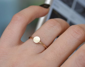 Round ring, Circle Ring, 14K Gold Filled, Disc Ring, Geometric Jewelry, Silver Dainty Ring, Ring For Women, Minimal Ring, Dainty Stack Ring