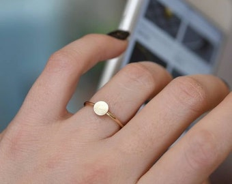 4da73af7829 Round ring, Circle Ring, 14K Gold Filled, Disc Ring, Geometric Jewelry,  Silver Dainty Ring, Ring For Women, Minimal Ring, Dainty Stack Ring