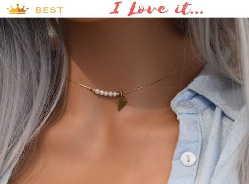 Minimalist Gemstones Necklace Freshwater Pearl Necklace Heart Charm Necklace Pearl Gold Necklace Dainty Gemstones Necklace Tiny Jewelry