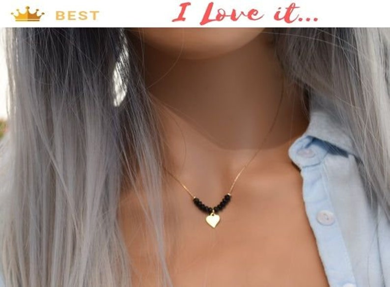Heart Charm Necklace Gemstone Necklace For Women Beads Necklace For Woman Dainty Jewelry Gold Choker Delicate Necklace Onyx Necklace
