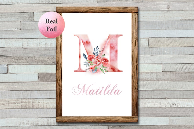 Personalised Floral Letter Print  Foiled Print  A4  A5  image 0