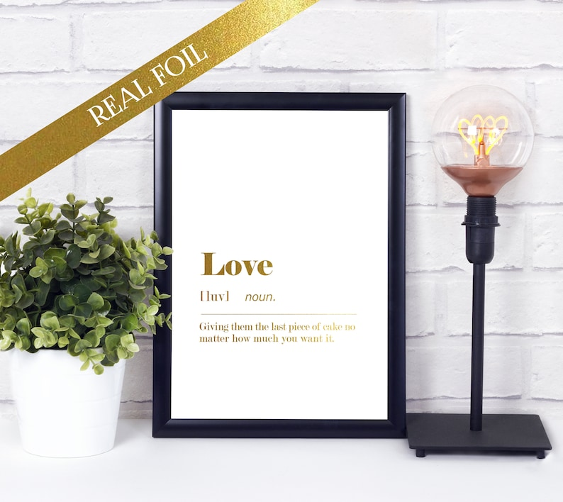 Foil Quote  Funny Love Dictionary Definition  Unframed A4 image 0