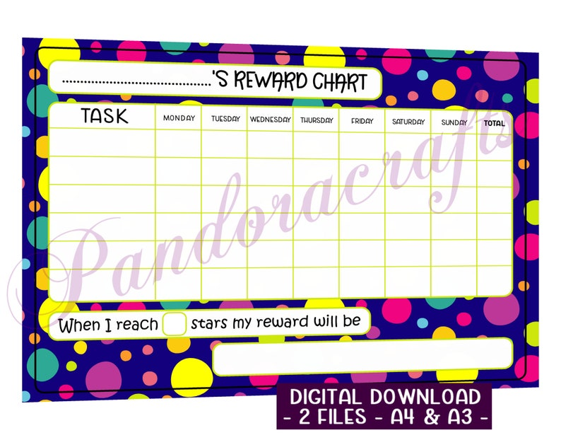 Rainbow Spots Reward Chart  Printable for Children  A4  A3 image 0