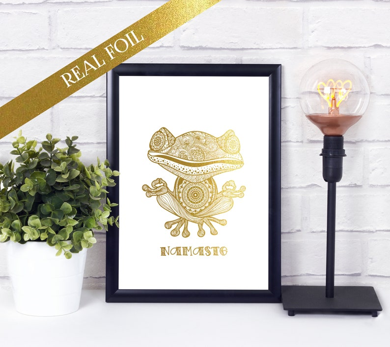 Yoga Frog Zentangle  Foiled Print  A4  A5  Gold Foil  image 0