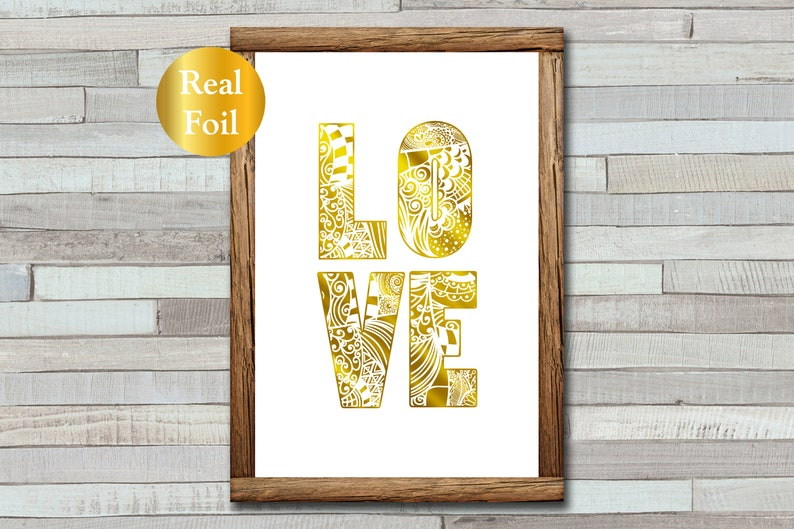 LOVE Zentangle  Foil Print  A4  A5  Anniversary Gift  image 0