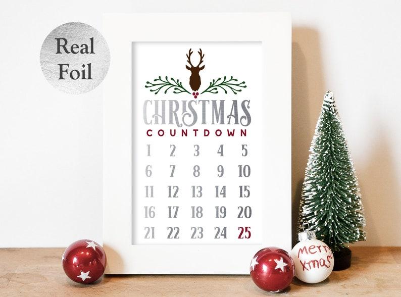 Xmas Foil Print  Christmas Countdown Chart  Unframed Foil Silver