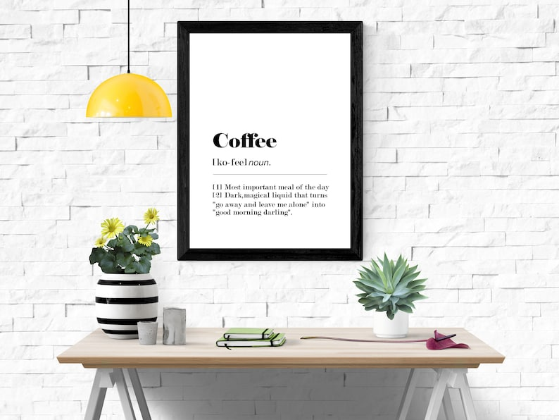 Funny Coffee Dictionary Definition  A4 A3 Printable Wall Art image 0