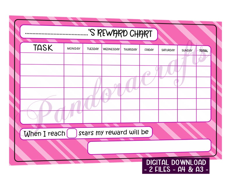 Pink Star Chart Printable for Children  Reward Chart  A4  image 0