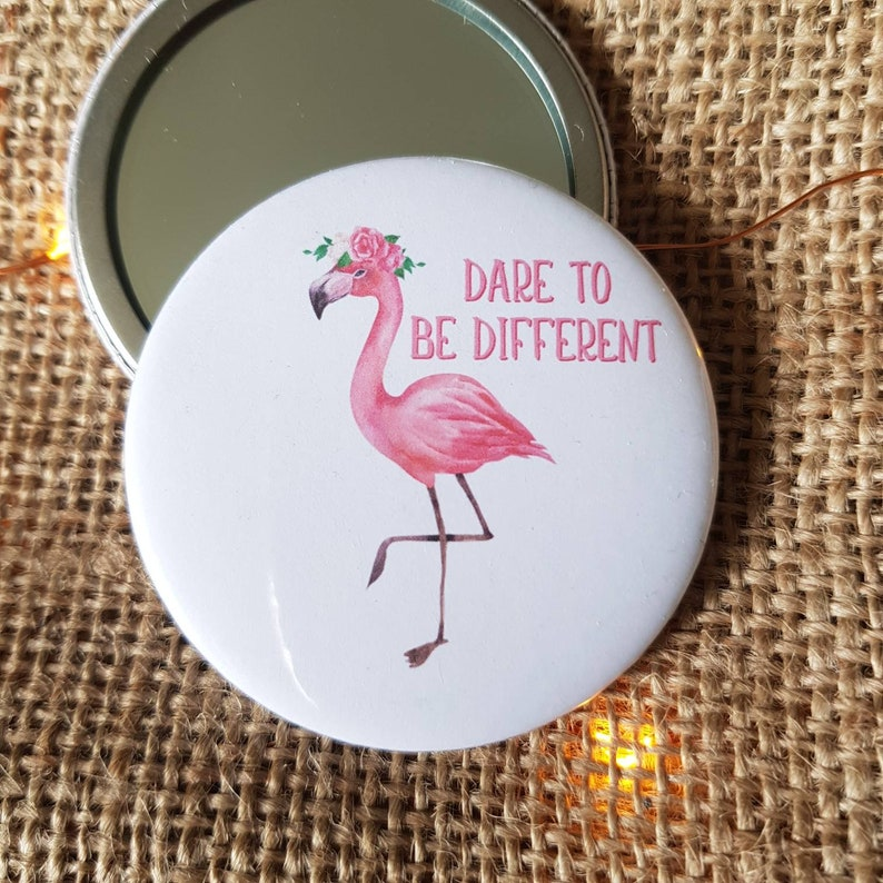Pocket Mirror  Flamingo Quote  Dare To Be Different  image 0