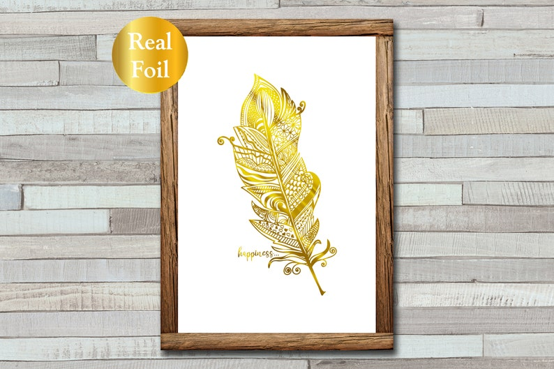 Zentangle Feather  Happiness Print  Foil Print  A4  A5 image 0