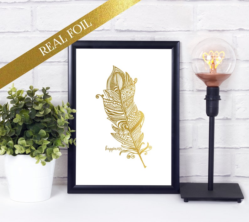Zentangle Feather  Happiness Print  Foil Print image 0