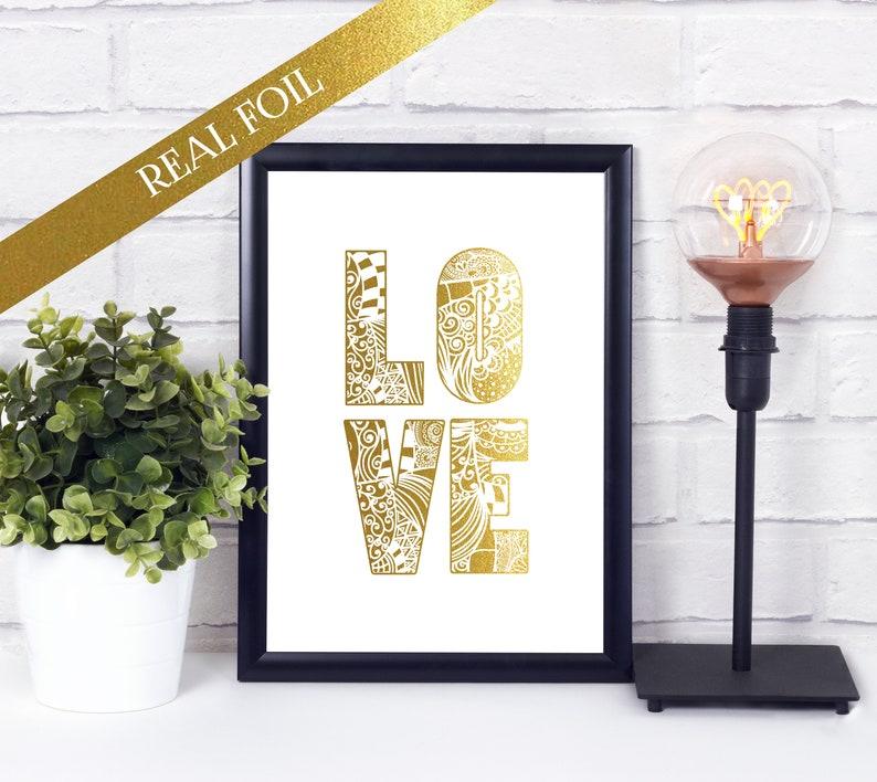 LOVE Zentangle  Foil Print  Anniversary Gift  Mandala image 0