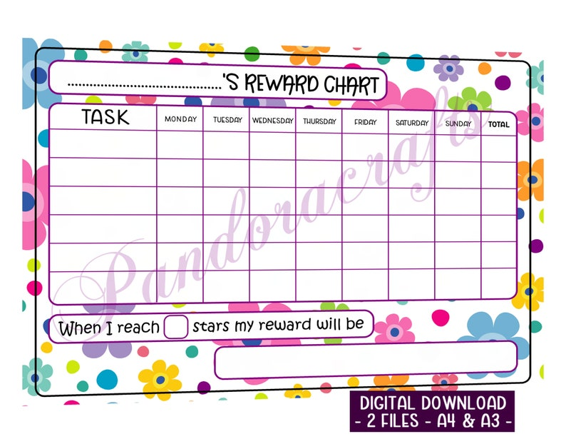 Reward Chart Printable for Children  Flower Star Chart  A4  image 0