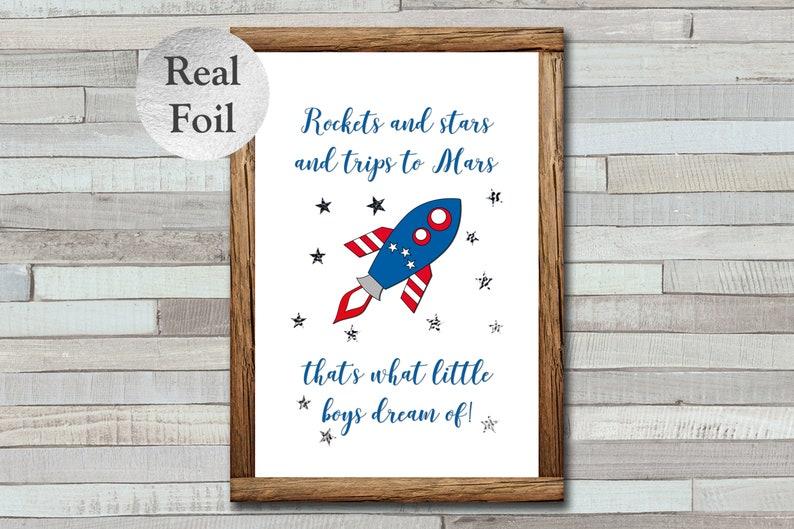 Rockets & Stars Foil Print Little Boys Wall Art Foiled image 0