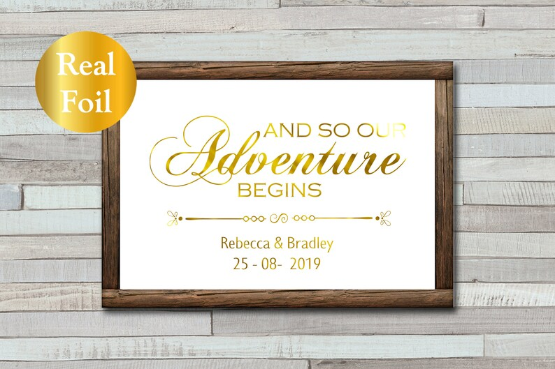 Personalised Wedding Sign  And So Our Adventure Begins  image 0