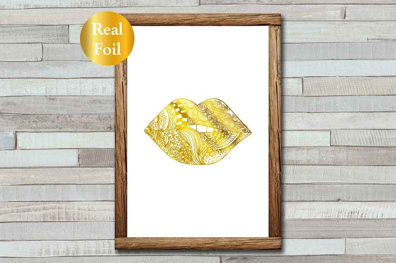 Lips Zentangle  Foiled Print  A4  A5  Gold Foil  Mandala image 0
