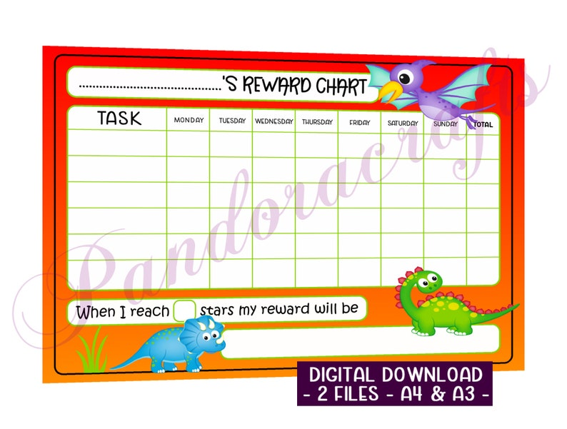 Dinosaur Star Chart Printable for Children  Reward Chart  A4 image 0