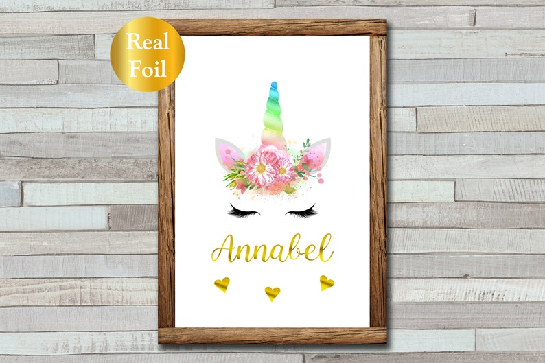 Rainbow Unicorn Print with Foiled Name  Personalised  image 0