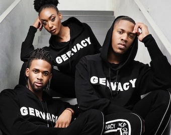 "GERVACY Classic Hooded ""XAVYB'S"" Sweatshirt with Stripped Sweatpants"