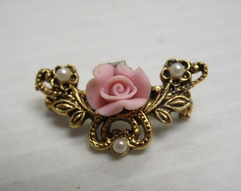 Goldtone Porcelain Fashion Curved Bar Brooch Pin