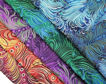 06c0d1b66be Colorful Peacock Feather Pattern Oriental Brocades (Per Half Meter)
