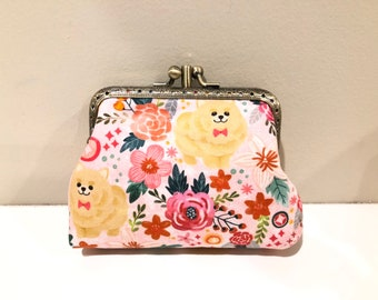 Fawn Pomeranian Coin Purse with Key Chain