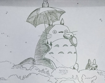 Totoro pen drawings-  Originals. Other iconic scenes available.