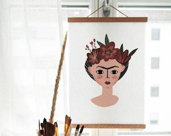 Frida Kahlo Poster, Frida Postcard, Frida Kahlo, Frida Kahlo portrait, Frida art, Frida Kahlo illustration, Фрида Кало постер
