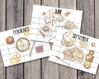 food calendar, fridge calendar, monthly calendar, monthly planner, desk decal calendar