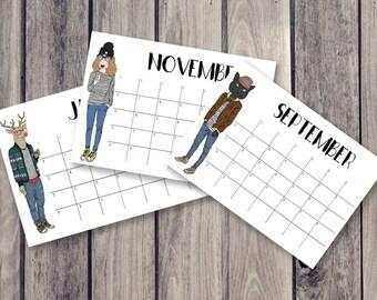 animal calendar, fridge calendar, monthly calendar, monthly planner, desk decal calendar