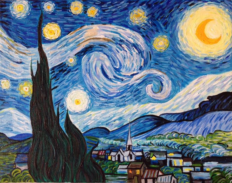Hand Painted Vincent Van Gogh Starry Night Painting Reproduction On Canvas