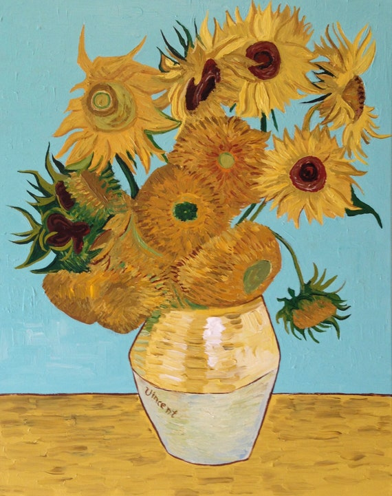 Hand Painted Vincent Van Gogh Sunflowers Painting Reproduction | Etsy