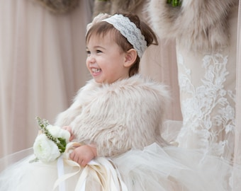Flower girls Formal Communion Faux Fur Shrug Wedding Junior Special Occasions Baby Holiday Bridesmaid Black,Ivory,White,Blush Toddler
