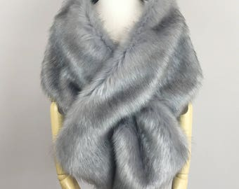 Gray fur shawl, Gray Fur Bridal Wrap, Wedding Fur shrug, faux Fur Wrap, Bridal Faux Fur Stole Fur Shawl Cape (Lilian Gry04)