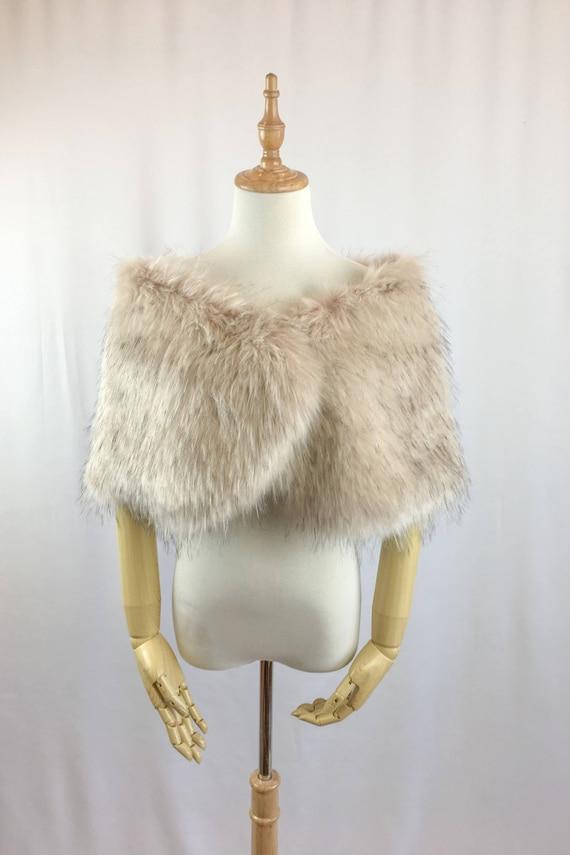 Blush Pink Faux Light Brown Fur Bridal Wrap Wedding Fur