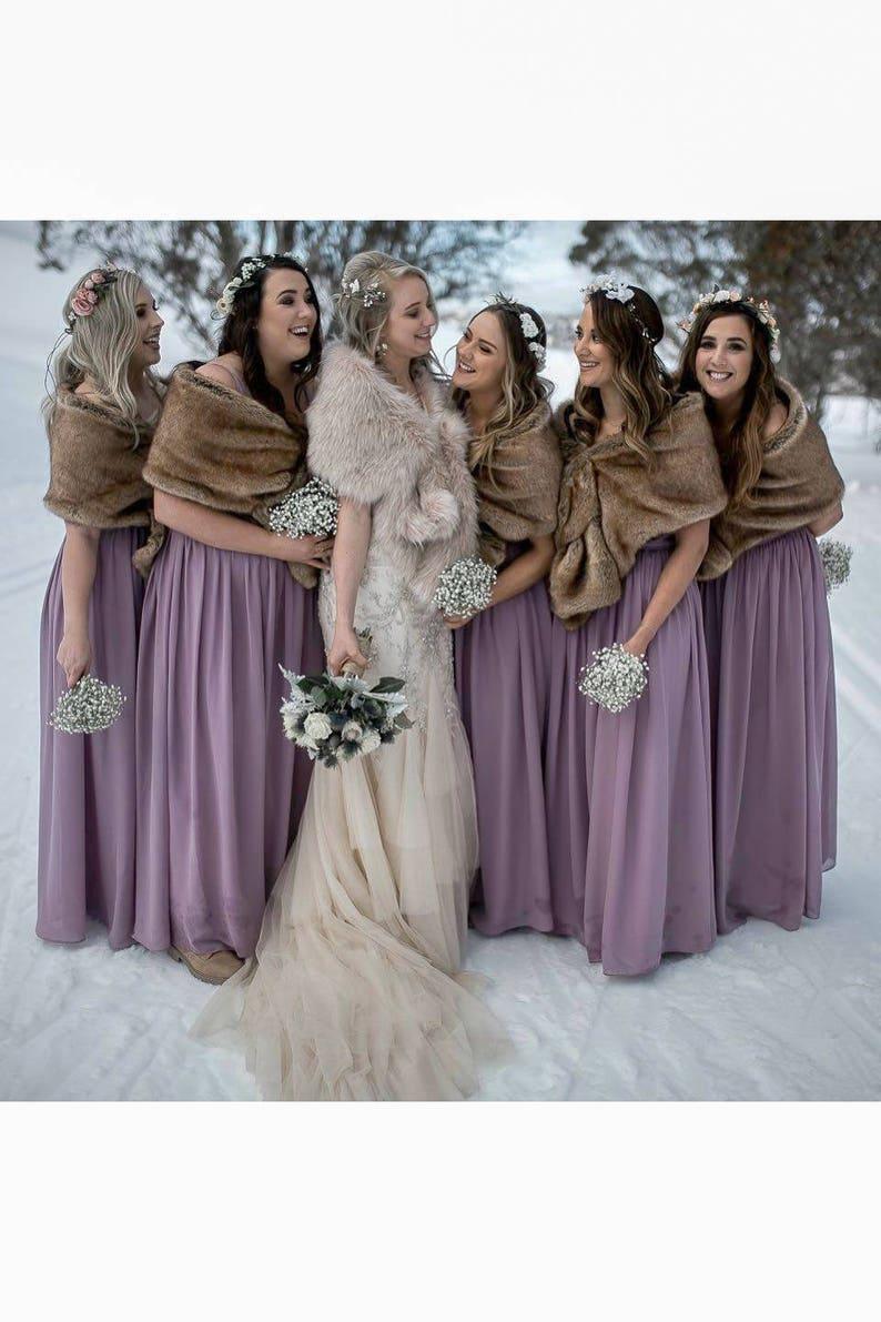 Pink Blush   Light Brown faux fur bridal wrap Wedding Fur  b8213511c818